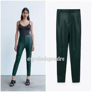 Zara Forest Green Faux Leather Hi-Rise Leggings S